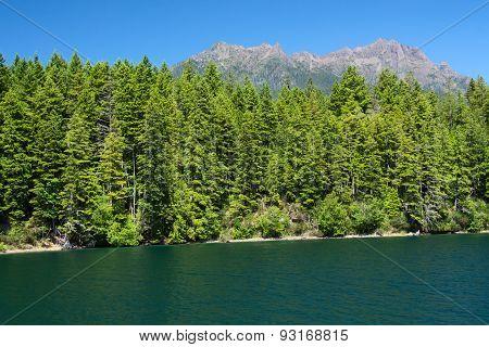 Lake Cushman And Mount Elinor In Summer