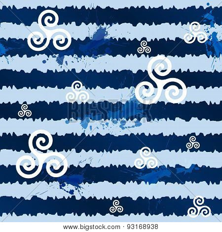 Dark blue grunge stripes with white celtic triskels, seamless pattern