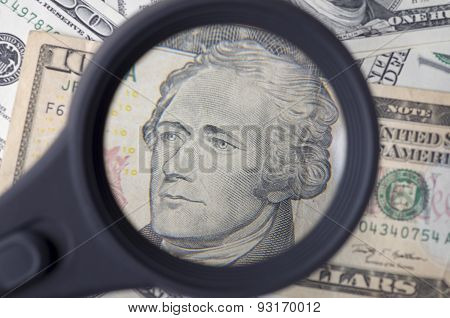 Alexander Hamilton On Ten Dollar United States As A Background
