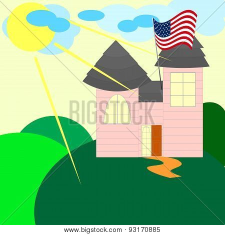 American House With Us Flag In The Summer Day