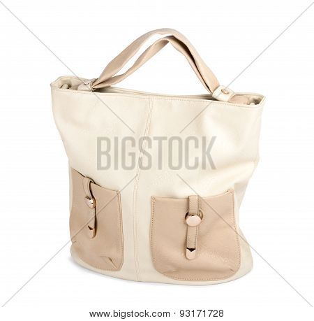 Nice Elegant Beige Woman Bag Isolated