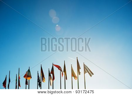 All Eu Flags On Clear Sky