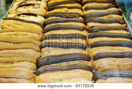 Tasty Eclairs On In French Bakery Store