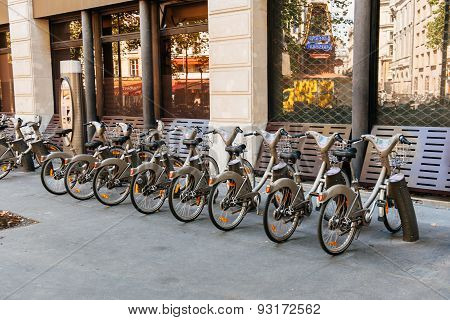 Velib Bike Sharing Station In Paris, France