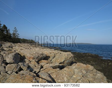 Rocky Maine Coast near Marshall Point Lighthouse in Maine