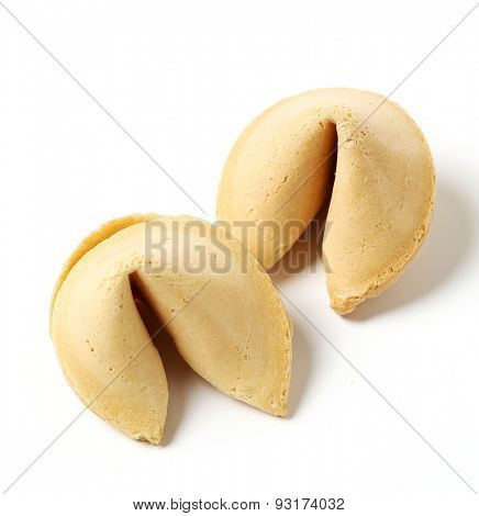 Fortune cookie on a white background
