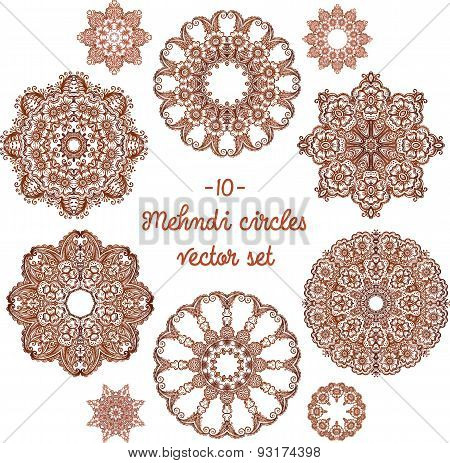 Doodle circles set in indian mehndi style