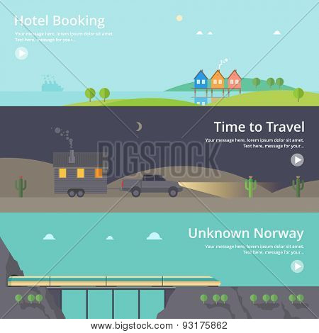 Colorful vector flat banner set. Quality design illustrations, elements and concept - Hotel booking, House at the lake, Mountain hotel, Cheap tickets, Home on wheels, Time travel