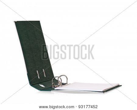 Single green file folder, isolated on white background