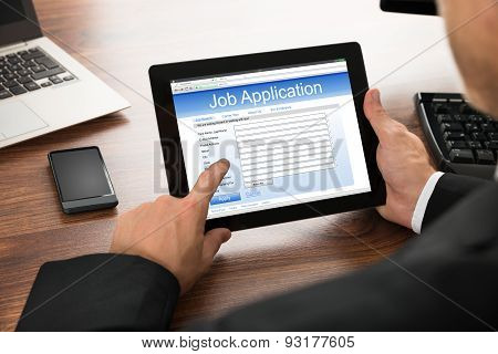 Businessman Filling Online Job Application