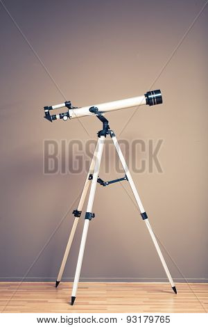 telescope on tripod with copy-space