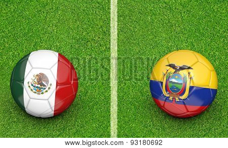 football tournament, teams Mexico vs Ecuador