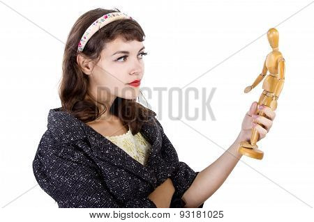 Retro Girl with Wooden Mannequin