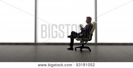Startup Businessman with Empty Office
