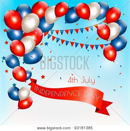 Holiday American Background With Colorful Balloons For 4Th Of July In Blue Sky. Vector.