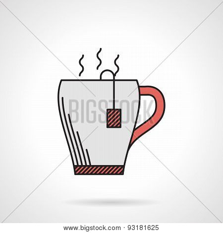 Elegant teacup flat color vector icon