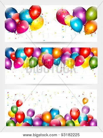 Three Holiday Birthday Banners With Balloons. Vector.