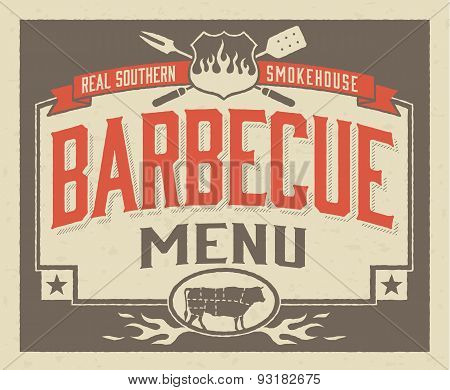 Genuine Southern Barbecue Menu Design