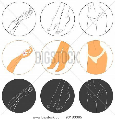 Manicure, pedicure and bodycare concept. Icon set.