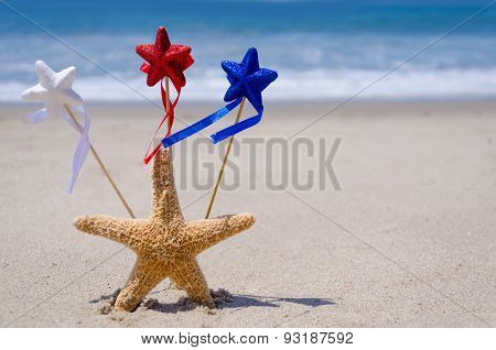 Patriotic Usa Background With Starfish