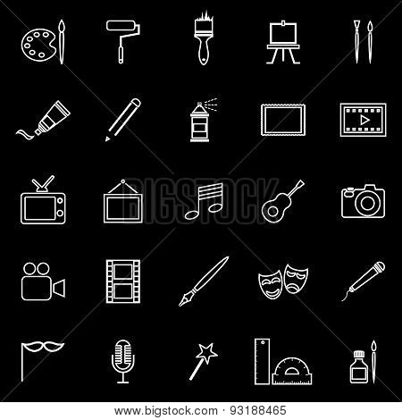 Art Line Icons On Black Background