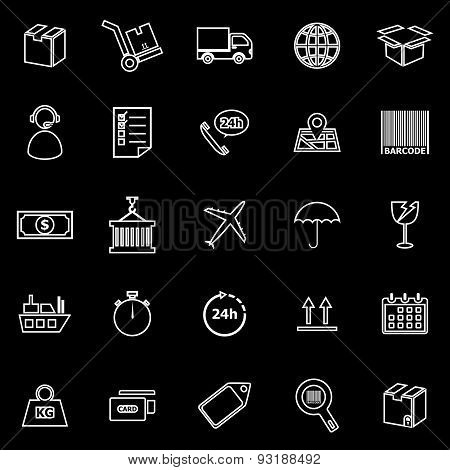 Logistics Line Icons On Black Background