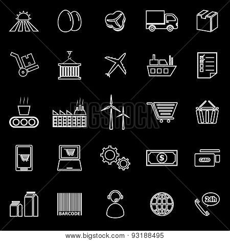 Supply Chain Line Icons On Black Background