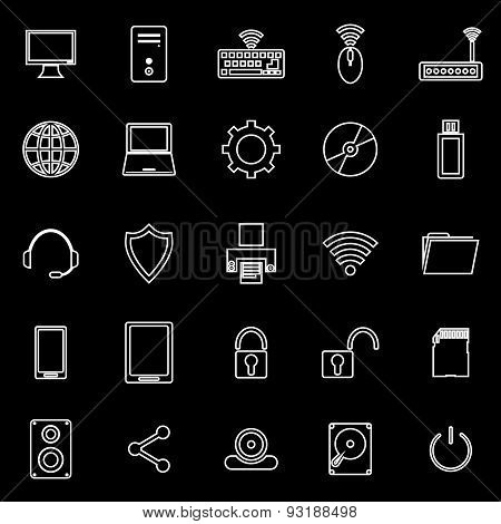 Computer Line Icons On Black Background