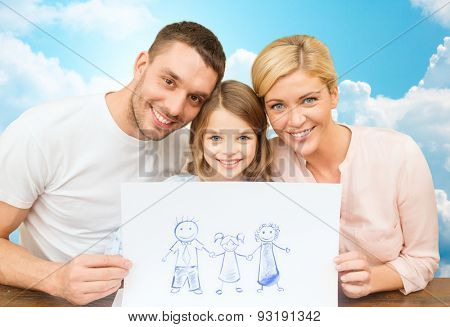 people, happiness, adoption and childhood concept - happy family with drawing or picture over blue sky with clouds background