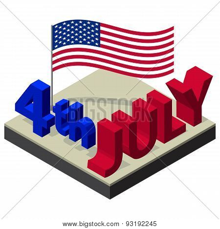 Isometric Independence Day Vector Design July Fourth