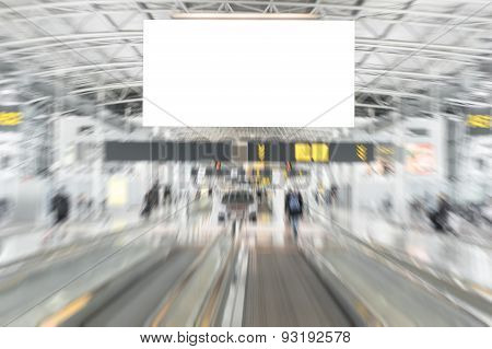 Empty advertising billboard in airport