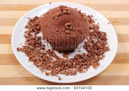 Fresh Baked Muffin With Grated Chocolate