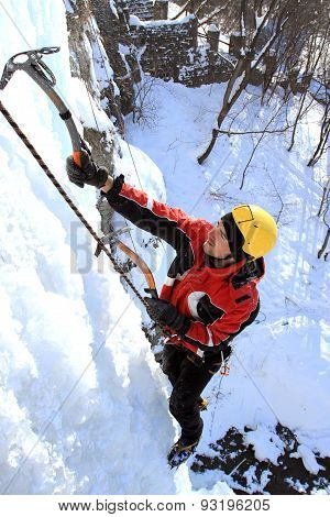 Ice climbing the waterfall.