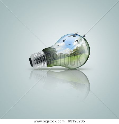 Electric Light Bulb With Forest, Ecological Concept