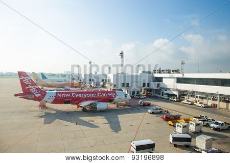 Bangkok - May 5 : Don Mueang International Airport On May 5,2015 In Thailand.air Asia And Thai Nok