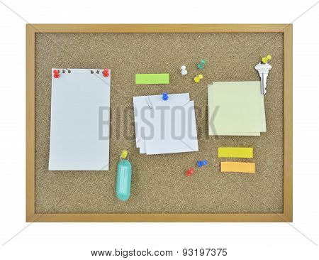 Colorful Sticky Notes, Pin, Key And Tag Name On Cork Board