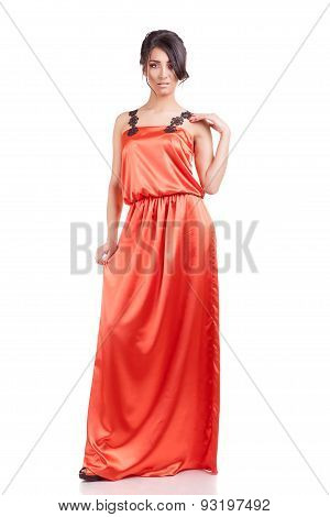 Beautiful Girl In Cocktail Dress Full Body Isolated Over White Background
