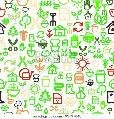 Seamless Garden Icons Background