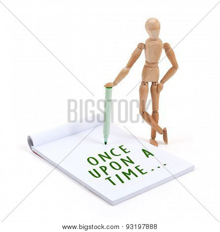 Wooden Mannequin Writing In Scrapbook - Once Upon A Time
