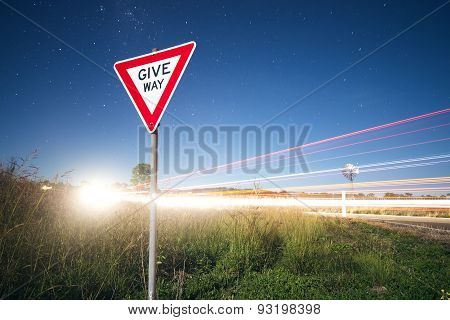 Road sign with stars