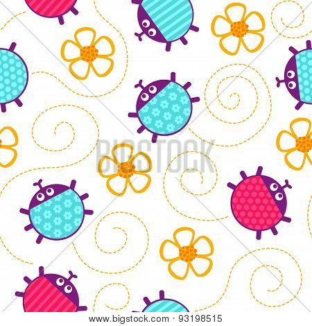 Ladybugs And Flowers Seamless Vector Pattern.