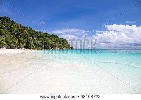 Beautiful Crystal Clear Sea And White Sand Beach At Tachai Island, Andaman, Thailand