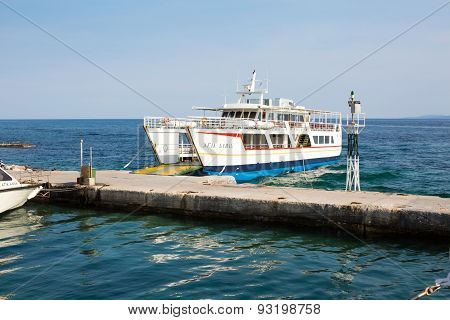 Ouranoupolis Harbor And Ferry Boat Agia Anna Near The Pier, Greece