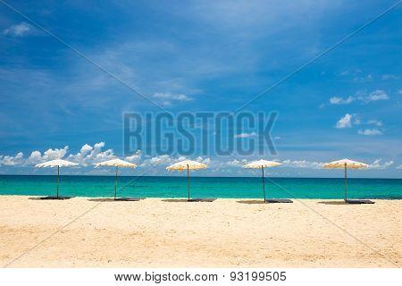 Beach Umbrella On Beach With Blue Sky, Phuket Thailand