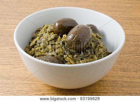 Chopped Pickled Green Cabbage In A Bowl