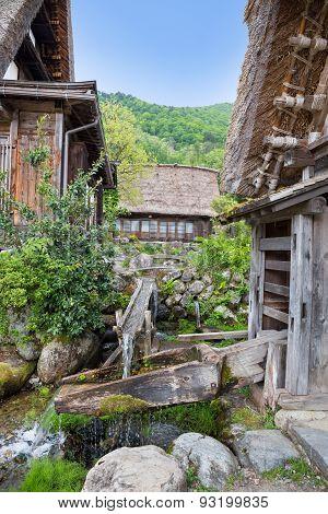 Japanese Garden With Water Flow At Historical Japanese Village - Shirakawago In Spring, Travel Landm
