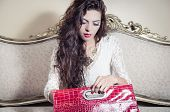 picture of bolivar  - Pretty model girl sitting on victorian sofa holding a red purse - JPG
