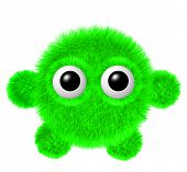 Little green furry monster with arms and legs. Fluffy character with big eyes. poster