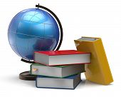 picture of geography  - Book stack textbooks globe blank colorful global geography knowledge studying wisdom adventure literature cartography icon concept - JPG