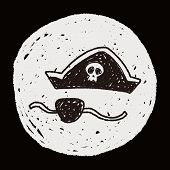 foto of pirate hat  - Pirate Hat And Eye Patch Doodle - JPG